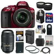 Nikon D5300 Digital SLR Camera & 18-55mm VR II Lens (Red) with 55-300mm VR Lens + 64GB Card + Battery & Charger + Backpack + Tele/Wide Lens Kit
