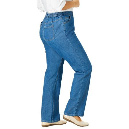 Woman Within Plus Size Petite Side-Elastic Straight Leg Cotton Jean