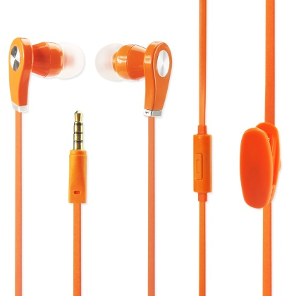Earphone 3.5Mm With Mic And In Ear Rubber Caps Orange