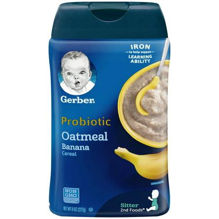 (6 Pack) Gerber Probiotic Oatmeal & Banana Baby Cereal, 8