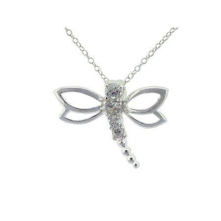CZ Sterling Silver Dragonfly Pendant, 18