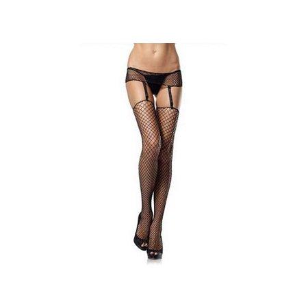 Leg Avenue Women's Plus-Size Plus Net Garterbelt and Stockings, Black, Plus Size