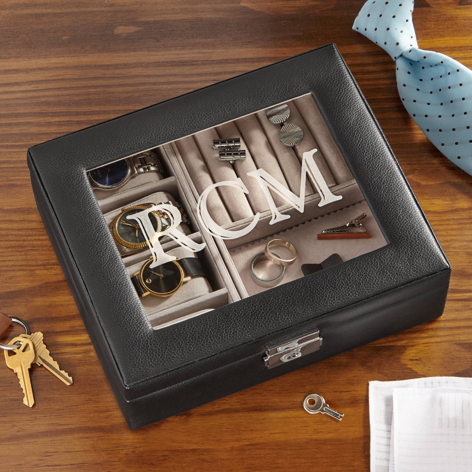 Personalized Leather Watch Box and Storage Valet
