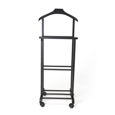 Wood Valet - Mind Reader Wood Standing Valet Double Rack, Black