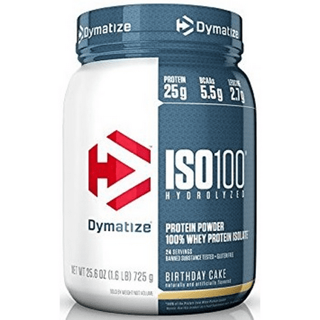 Dymatize ISO 100 Hydrolyzed 100% Whey Protein Isolate Powder, Birthday Cake, 25g Protein/Serving, 1.6