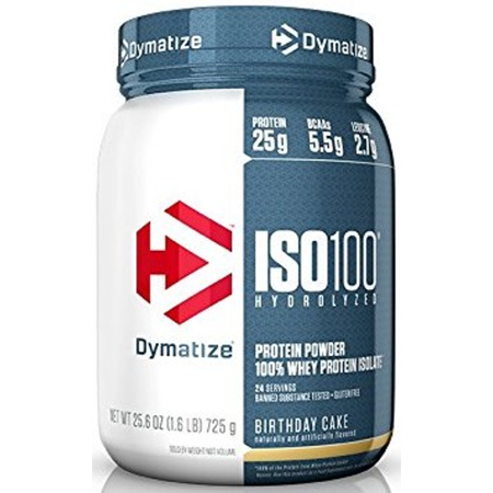 Dymatize ISO 100 Hydrolyzed 100% Whey Protein Isolate Powder, Birthday Cake, 25g Protein/Serving, 1.6 Lb ()