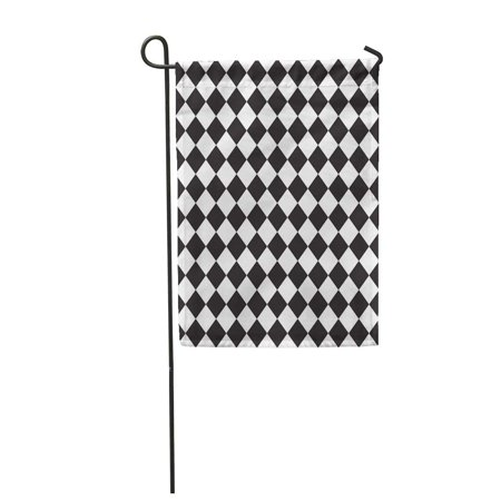 SIDONKU Floor Black and White Squares Geometric Pattern Checkerboard Garden Flag Decorative Flag House Banner 12x18 inch - Black And White Checkerboard Floor