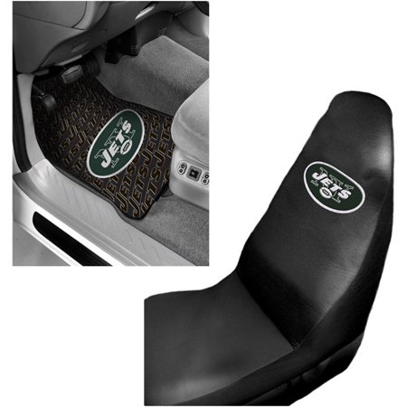 NFL New York Jets 2 pc Front Floor Mats and New York Jets Car Seat Cover Value Bundle