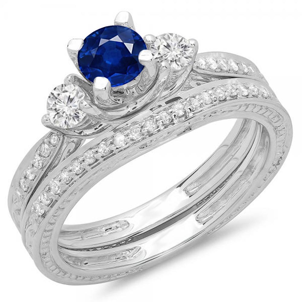 1.00 Carat (ctw) 10K White Gold Round Blue Sapphire & White Diamond Ladies Vintage 3 Stone Bridal Engagement Ring With M