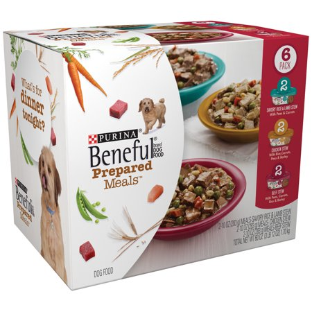 Purina Beneful Prepared Meals Variety Pack Dog Food Pack of 6, 10oz. Plastic Tubs