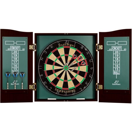 EastPoint Sports Derbyshire Official Size Bristle Dartboard & Cabinet (Ncaa Wood Dartboard Cabinet)