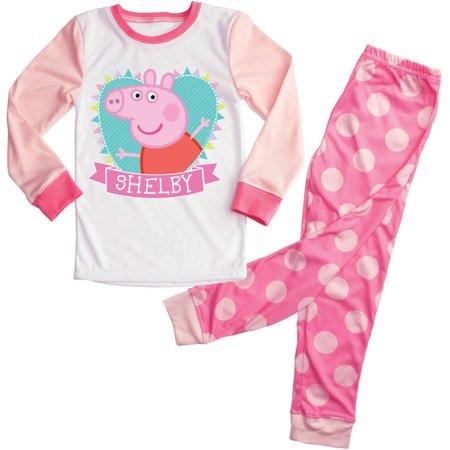 Personalized Heart Peppa Pig Girls Toddler Pajamas - 2T, 3T, 4T, 5/6T (Girls Pepa Pig)