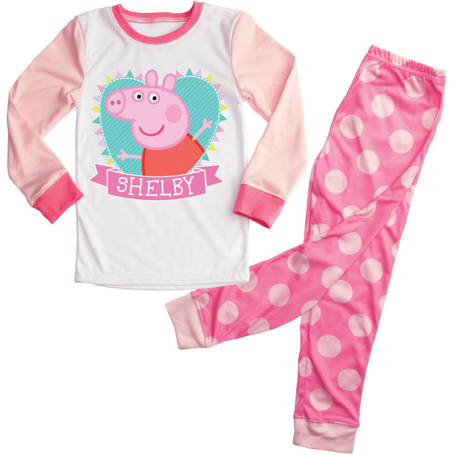 Personalized Heart Peppa Pig Girls Toddler Pajamas - 2T, 3T, 4T, 5/6T