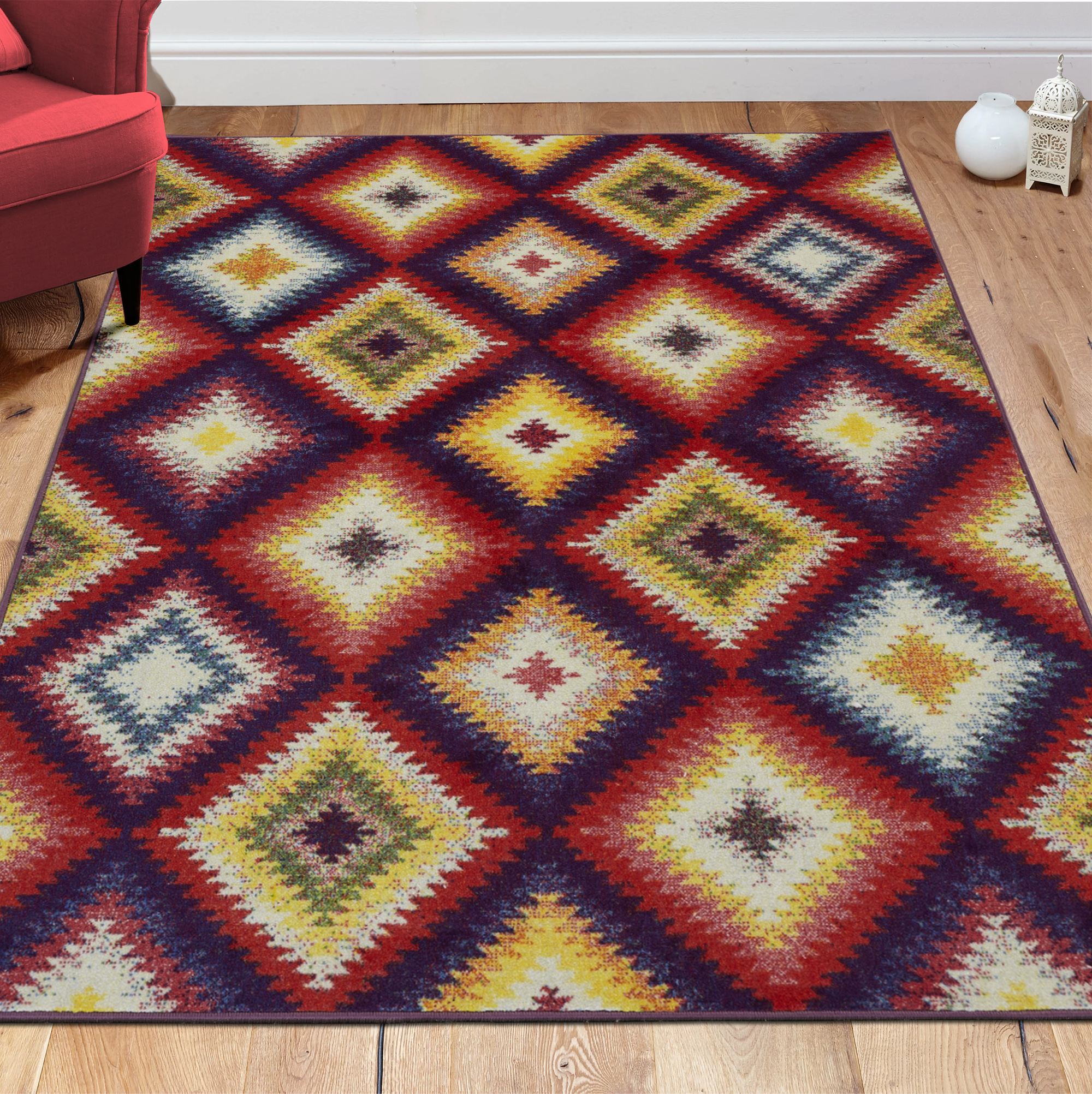 "Ottomanson Rainbow Collection Modern Multicolor Diamonds Area or Runner Rugs, 5'0"" X 6'6"""