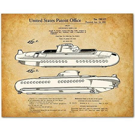 Disneyland Submarine Voyage Ride - 11x14 Unframed Patent Print - Great Gift for Disney - Disneyland For Halloween