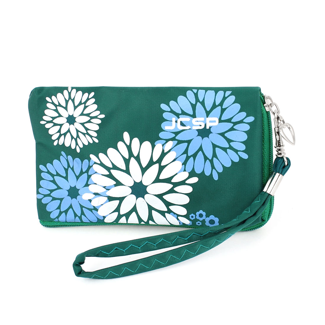 Unique Bargains Green Flower Pattern Purse Bag Holder for Mobile Phone Keys Mp3 Mp4