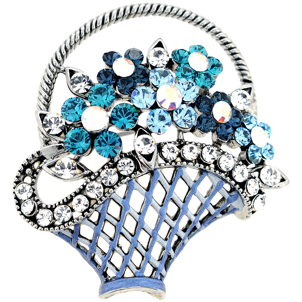 Blue Flower Basket Swarovski Crystal Pin Brooch by