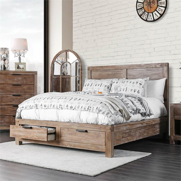 Furniture Of America Russ King Panel Storage Bed In Oak Walmart Com Walmart Com