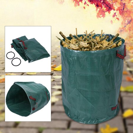 Image of Zerone 2x Collapsible Gardening Bag Garden Waste Bags Woven Bag Waste Refuse Rubbish Grass Recycling,Reusable Yard Lawn Leaf Container Garden Waste Bag