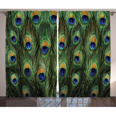 Peacock Decor Curtains 2 Panels Set, Stunning Peacock Tail Feathers Tropical Exotic Animals Close-Up Picture Artwork, Living Room Bedroom Accessories, By Ambesonne