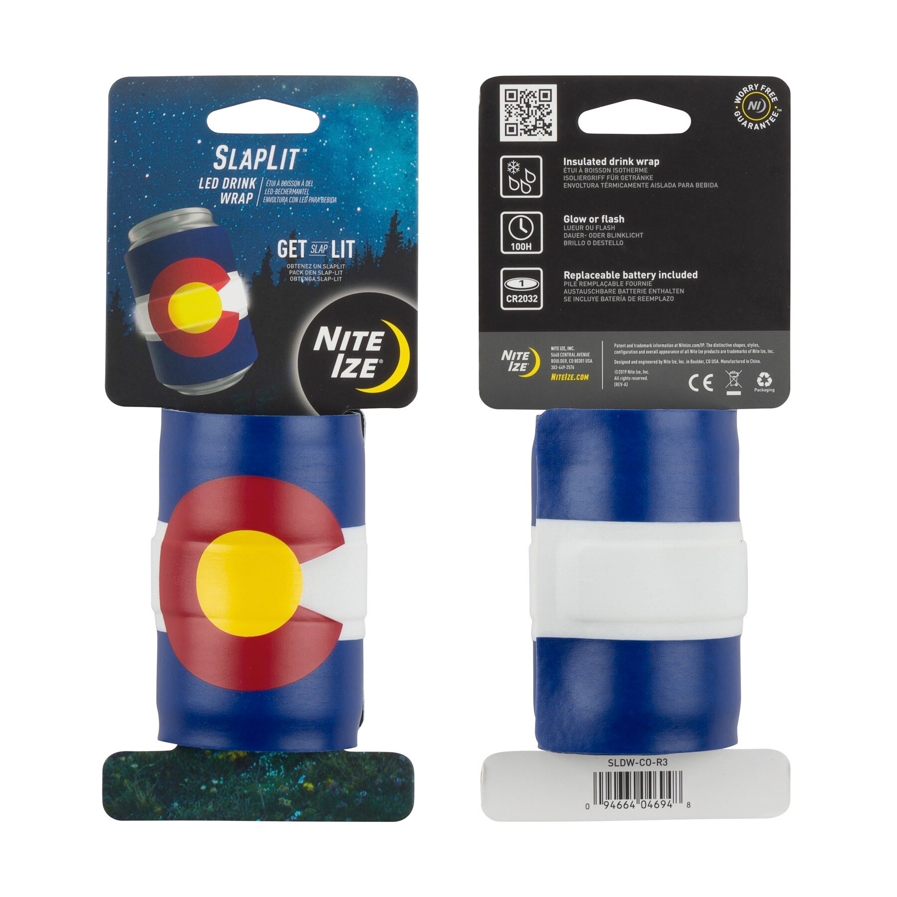Nite Ize SlapLit LED Colorado Easy to Use Neoprene Insulated Light Up Drink Wrap