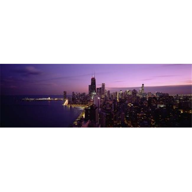 Buildings Lit Up At Night  Chicago  Illinois  USA Poster Print by  - 36 x 12 - image 1 of 1