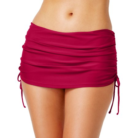 Skirtini Swim Bottom - Island Escape Womens Hamptons Skirtini Ruched Side-Tie Swim Skirt (10, Burgundy)