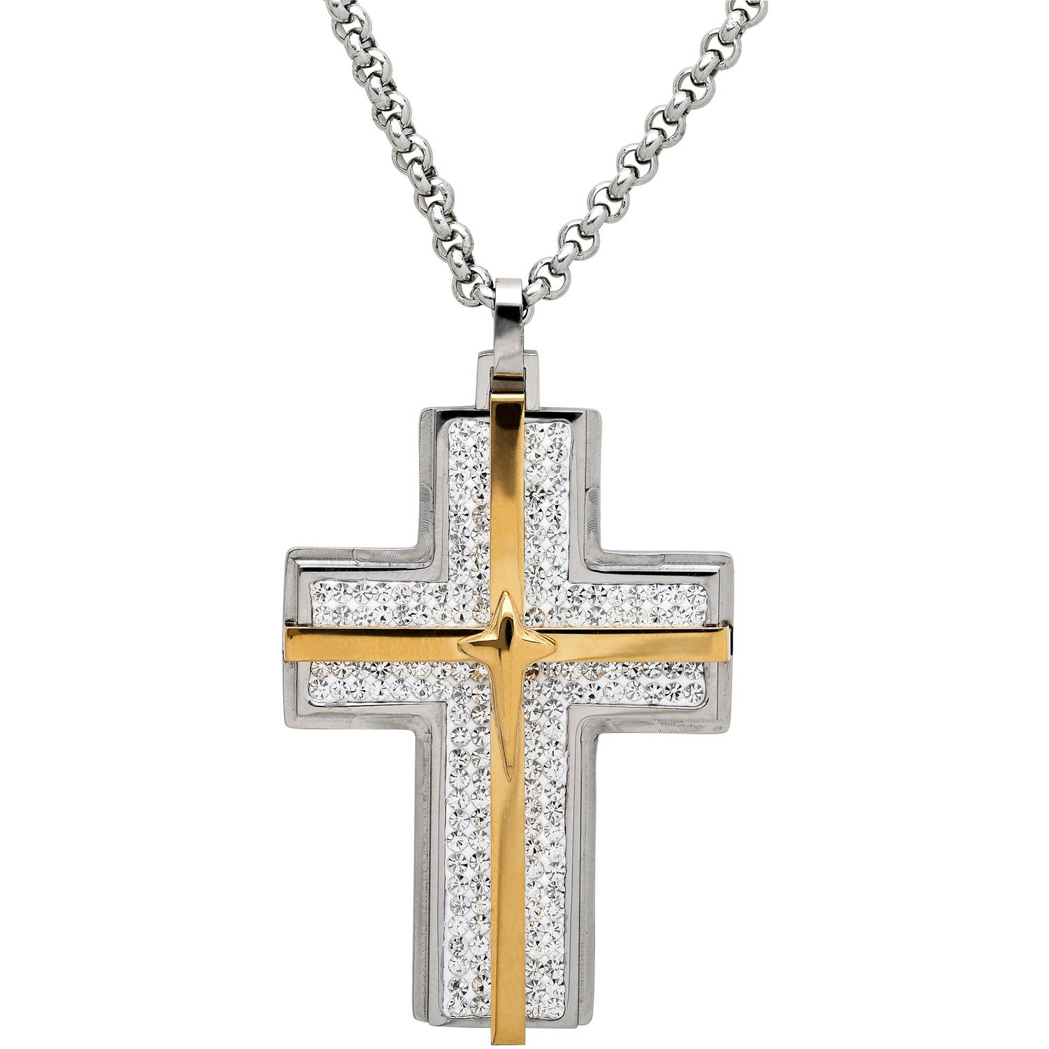 "Men's Crystal Accent Stainless Steel and 18kt Gold Cross Pendant, 24"" by Richline Group Inc"