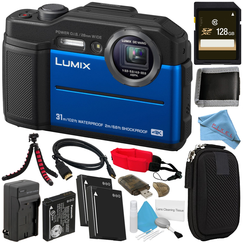 Panasonic Lumix DC-TS7 DC-TS7D Digital Camera (Orange) + DMW-BLC13 Lithium Ion Battery + External Rapid Charger + 128GB SDHC Card + Memory Card Wallet + Card Reader + Camera Floating Strap Bundle