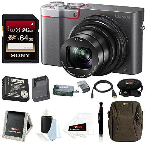 Panasonic LUMIX ZS100 4K Digital Camera (Silver) + 64GB Card + Battery & Charger + Accessory Bundle