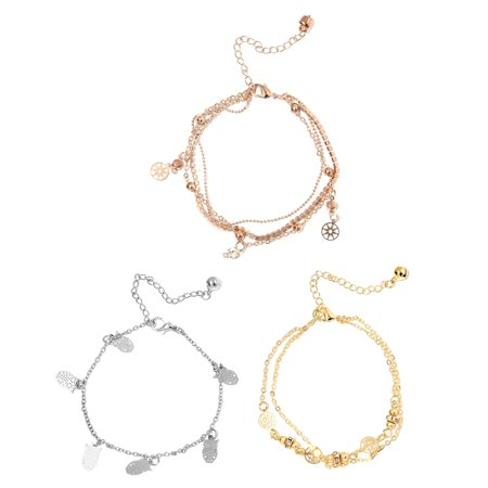 Set of 3 Round White Crystal Multitone Charms Ankle Bracelet for Women Cttw 1.2 Jewelry Gift