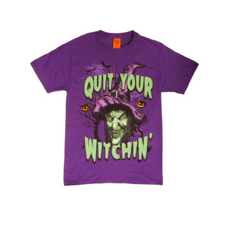 Happy Halloween Mens Purple Quit Your Witchin' T-Shirt - Happy Halloween Memes