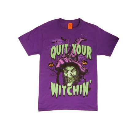 Happy Halloween Mens Purple Quit Your Witchin' - Happy Halloween Hawaiian Style