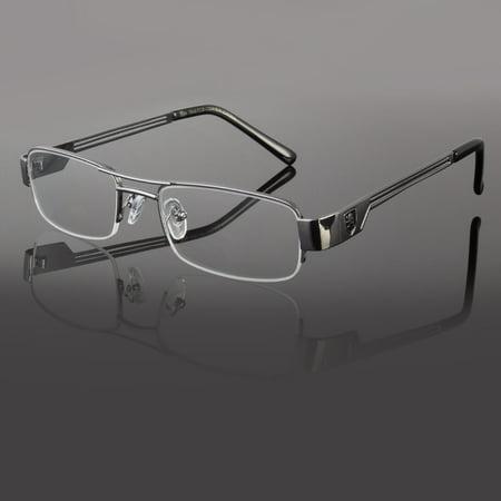 Khan Clear Lens Frames Glasses Small Rectangular Nerd RX Mens Women Fashion Silv