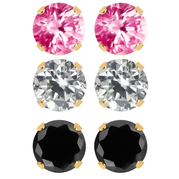 Set of 3 Round 6mm White Pink and Black CZ 18K Gold Plated Stud Earrings Set