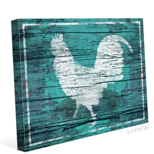 Click Wall Art Distressed Wood Rooster Painting Print on Wrapped Canvas in