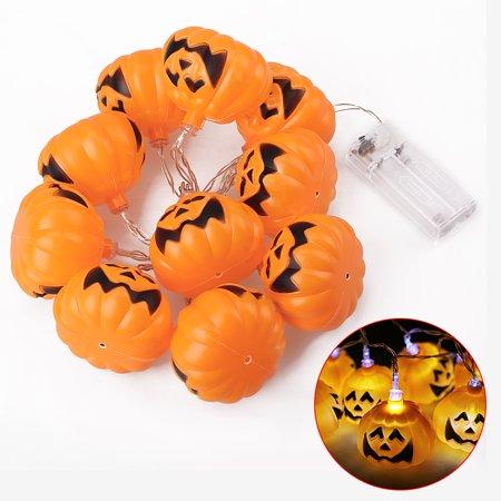 Pumpkin String Lights 2 AA Battery Powered 10 LED 4.6ft Decorations - Led Lights For Pumpkins