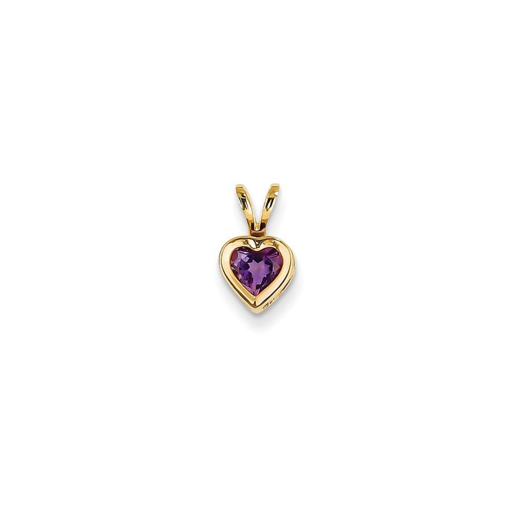 14k Yellow Gold 5mm Heart Amethyst bezel Pendant Gem Wt- 0.4ct