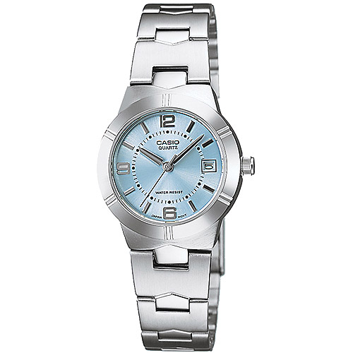 Casio Women's Blue Dial Watch, Silver-Tone Bracelet