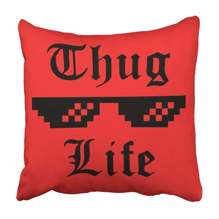 BPBOP Black Thug Life Glasses Meme Sticker Applique Apparel Label For Jeans Casual Wear Red Pillowcase Cover 18x18 (Jins Glasses)