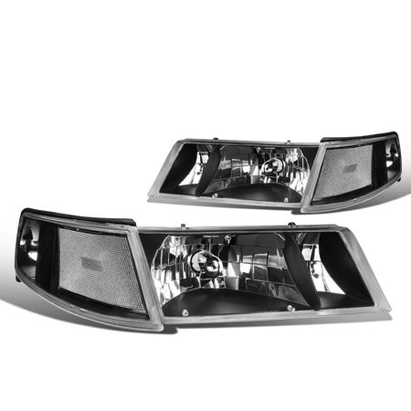 For 1998 to 2002 Mercury Grand Marquis Headlight Black Housing Clear Corner Headlamp 99 00 01 Left+Right