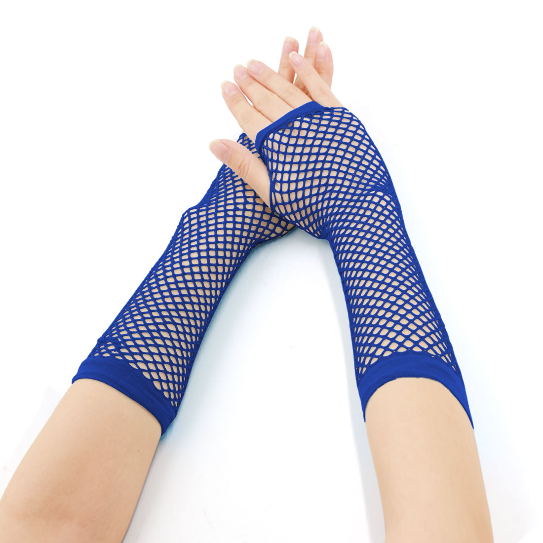 Women's Elbow Length Fingerless Fishnet Gloves 2 Pairs Blue