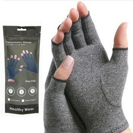 Arthritis Gloves with Grips- Textured Open Finger Compression Hand Gloves for Rheumatoid and Osteoarthritis - Joint Pain Relief for Men &