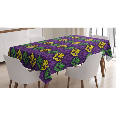 Mardi Gras Tablecloth, Antique Old Fashioned Motifs in Mardi Gras Holiday Colors Tile Pattern, Rectangular Table Cover for Dining Room Kitchen, 52 X 70 Inches, Purple Green Yellow, by Ambesonne - Mardi Gras Tablecloth