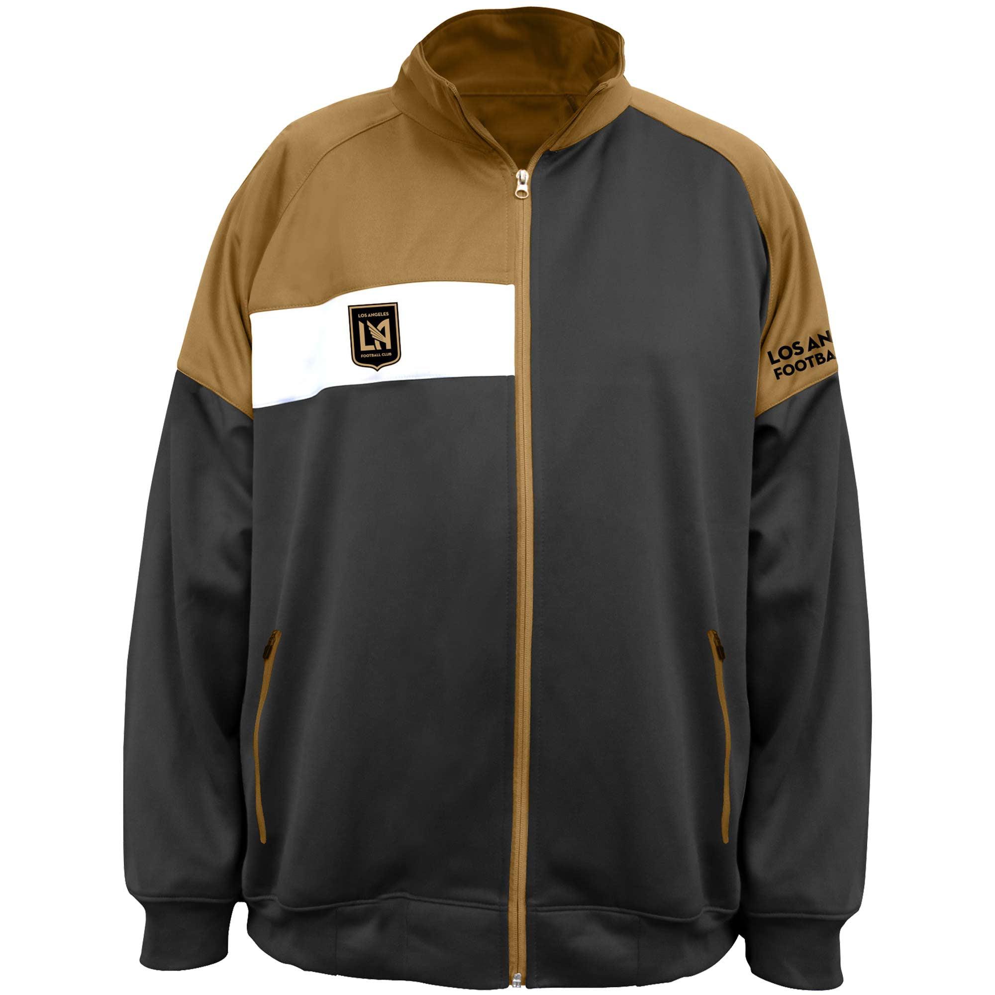 LAFC Majestic Big & Tall Poly Fleece Full-Zip Track Jacket - Black/Gold