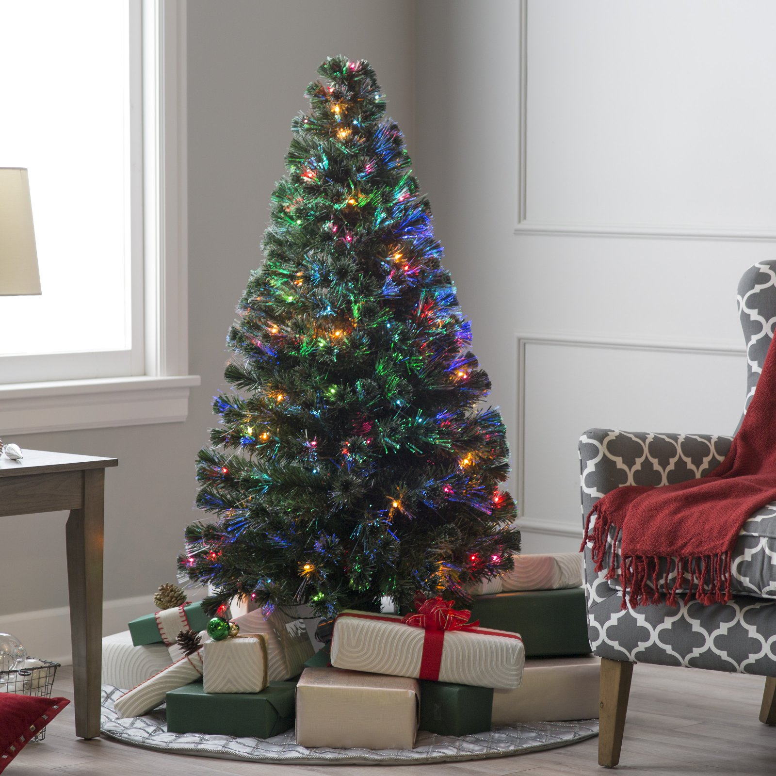 """National Tree Pre-Lit 60"""" Fiber Optic """"Evergreen"""" Artificial Christmas Tree with 150 Multi Lights in a 16"""" Stand"""