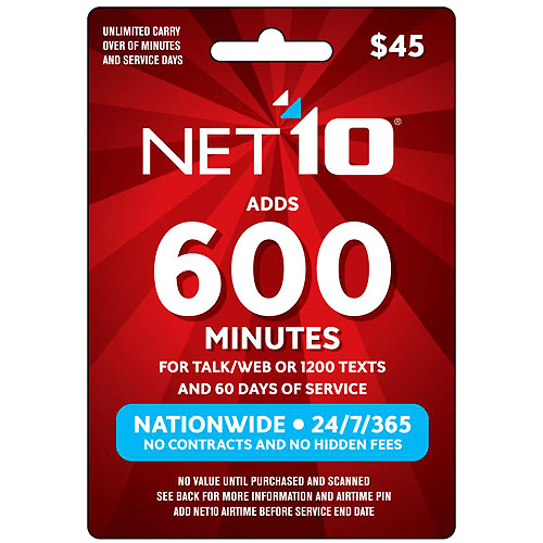 (Email Delivery) NET10 $45 Prepaid Card, 600 min for talk/web or 1200 texts and 60 days of service