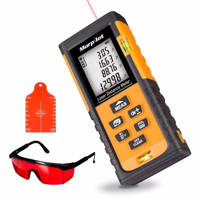 Morpilot Laser Distance Measure tool with Target Plate & Enhancing Glasses and Area, Volume Calculation