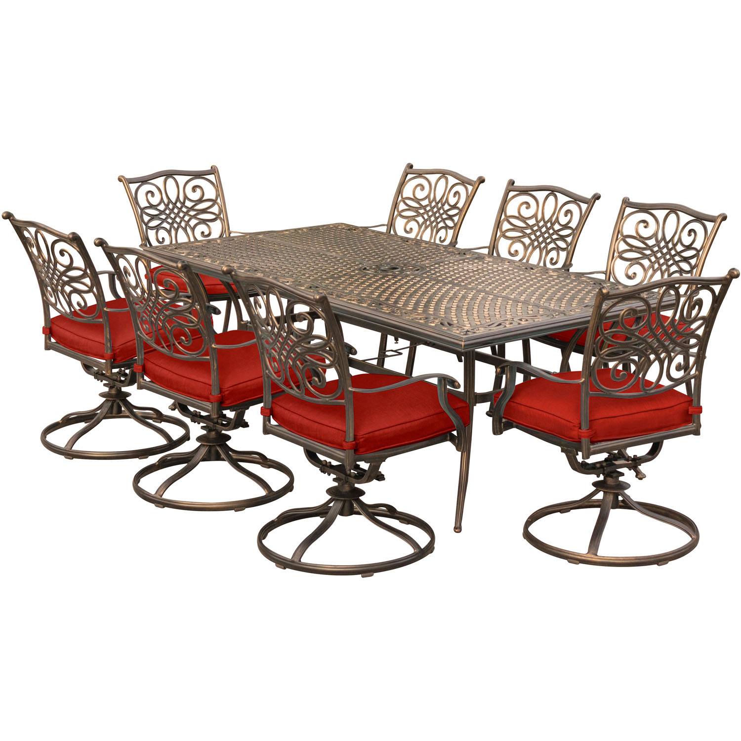 Hanover Traditions 9-Piece Outdoor Dining Set with Cast-Top Table and 8 Swivel Rockers