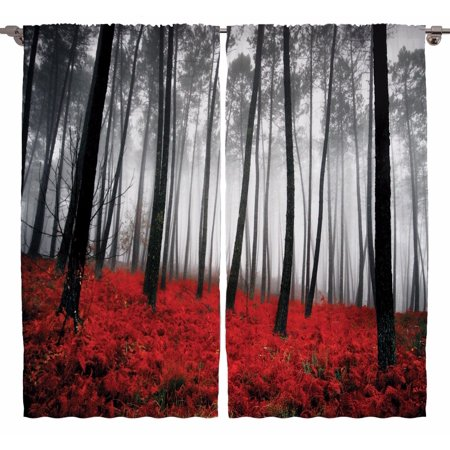 Mystic Forest Digital Photography Living Room Curtains